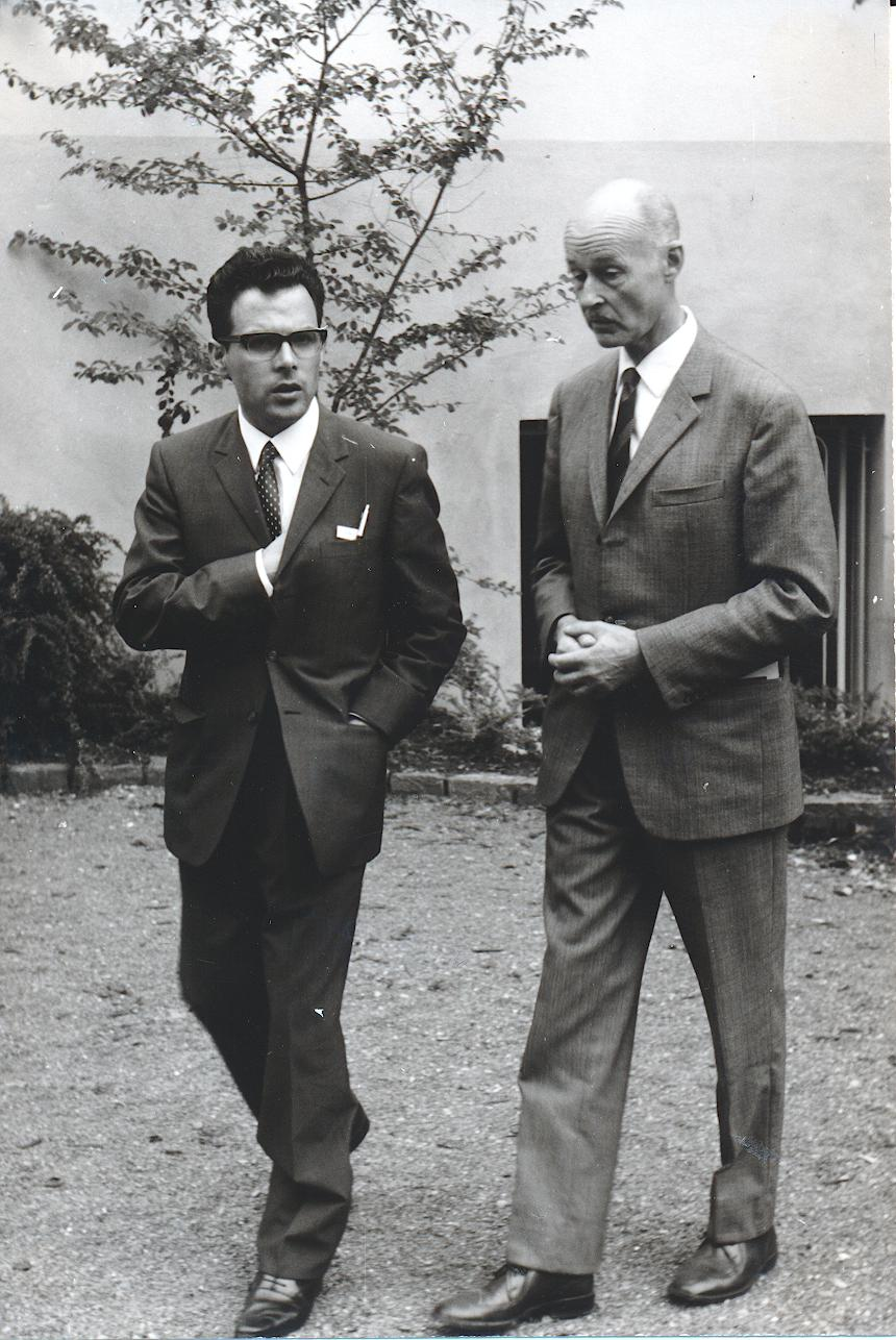 II. Internat. Imago Mundi-Kongress 1968, Luzern, DDr. Andreas Resch mit dem Direktor des Dreieichen Verlags