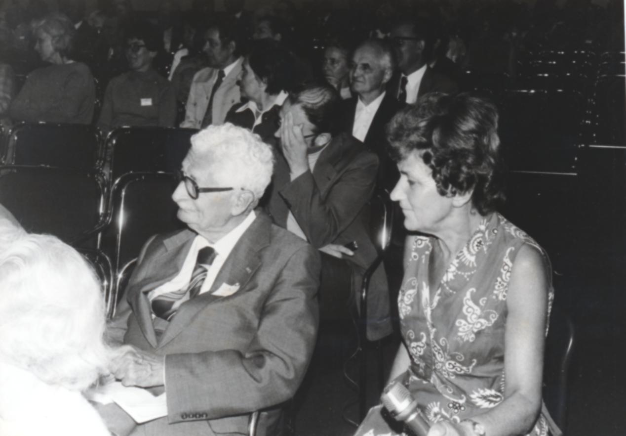 VI. Imago Mundi Kongress 1976, Haus St. Ulrich, Augsburg, Prof. DDr. Hermann Oberth und Dr. Sigrid Lechner-Knecht
