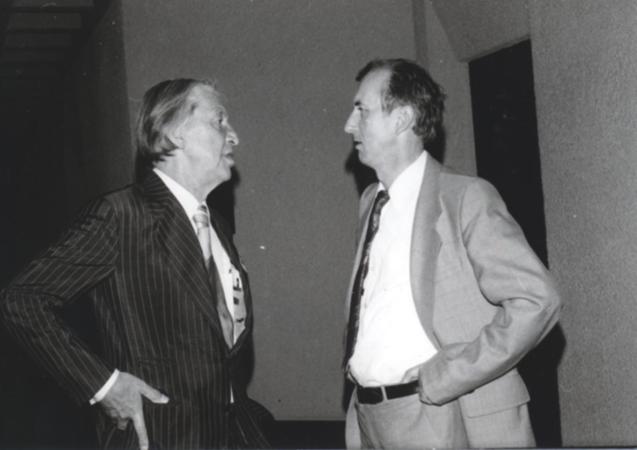 VI. Imago Mundi Kongress 1976, Haus St. Ulrich, Augsburg, von links Dr. Igenbergs und Prof. Dr. Alfred Stelter
