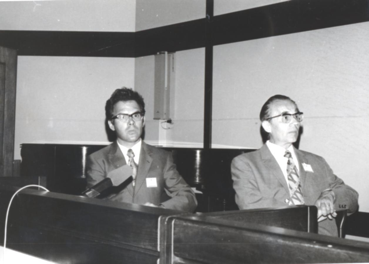 VI. Imago Mundi Kongress 1976, Haus St. Ulrich, Augsburg, von links Prof. A. Resch, Prof. Erwin Nickel