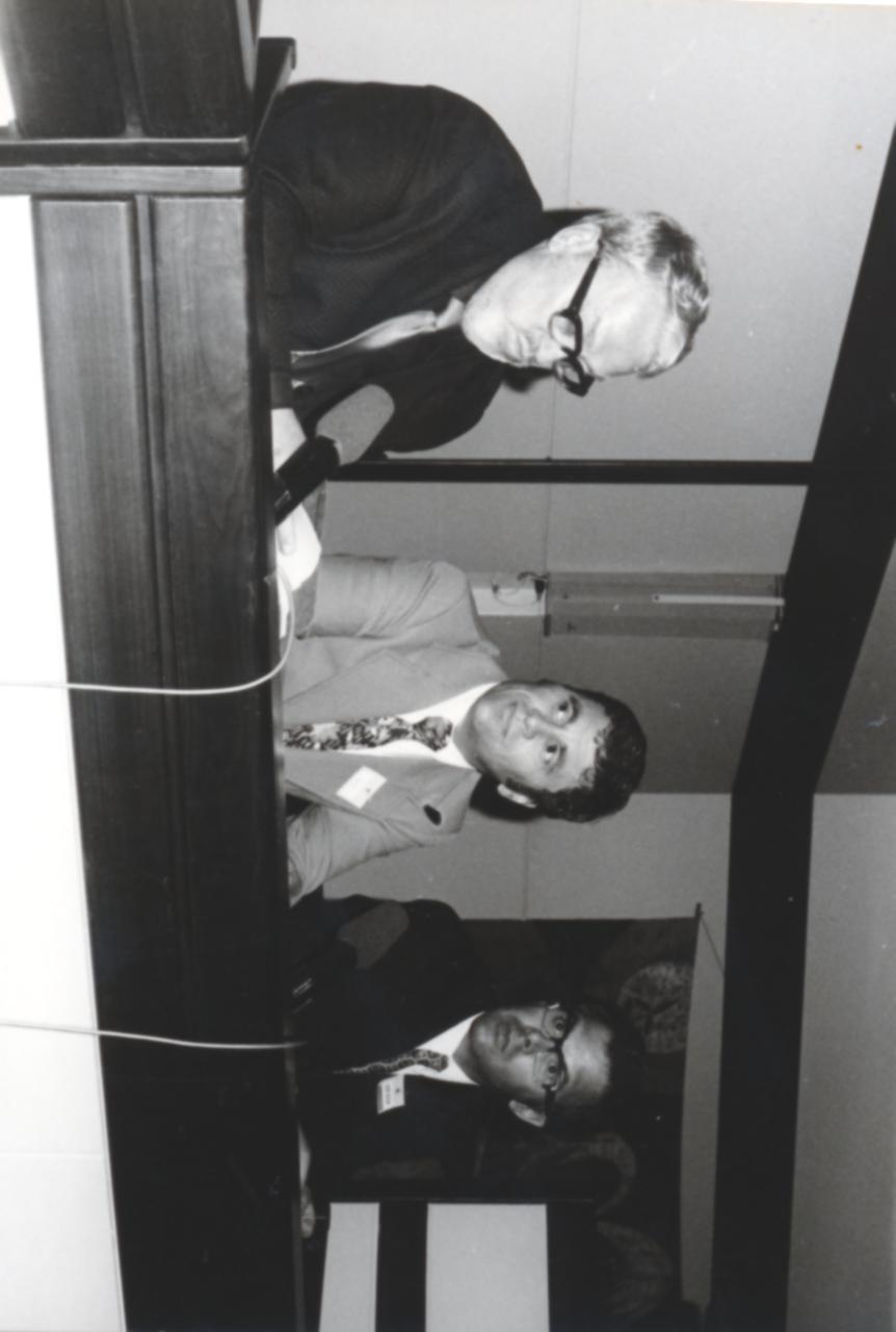 VI. Imago Mundi Kongress 1976, Haus St. Ulrich, Augsburg, von links Rolf Olsen, Dr. Harald Richter, Prof. A. Resch
