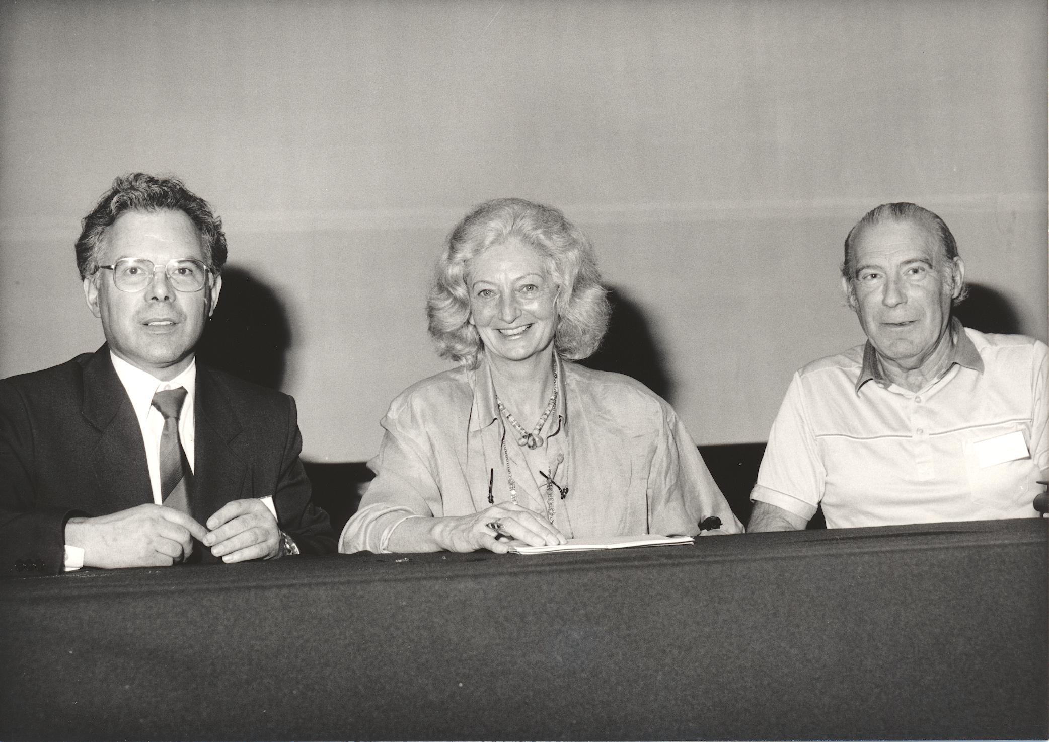 XI. Imago Mundi-Kongress 1987, Innsbruck,, von links Prof. Andreas Resch, Ilse Corte, Prof. Ernst Senkowski